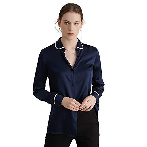 sur et Col LILYSILK 19MM Couleur Casual Femme Soie Marine Chemisier Simple Chemise Poignet Bleu en Contrast wrzwqvxBfP