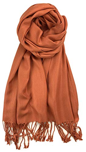 Plum Feathers Premium Solid Color and Metallic Fashion Scarf, Womens Pashmina Shawl Wrap with Fringes