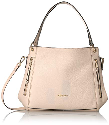 Calvin Klein Melanie Pebble Leather Slouchy Zip Face Hobo,  Sand, One Size