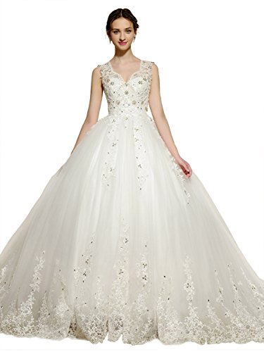 Sisjuly Women's Straps Beaded Lace Appliques Ball Gown Wedding Dress 12 ()