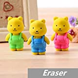 30 pcs/Lot Teddy bear Erasers rubber for pencil Removable BIB PANTS Novelty Toy gift stationery Office supplies