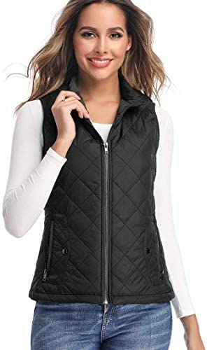 LK Women's Padded Vest, Stand Collar Lightweight Zip Quilted Gilet
