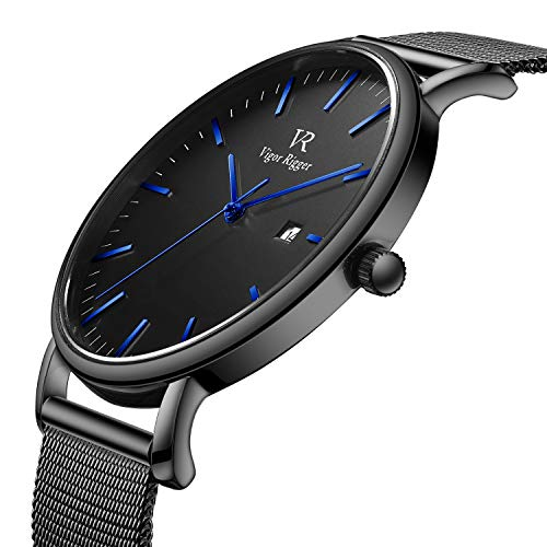 BUREI Men's Fashion Minimalist Wrist Watch Analog Deep Gray Date with Black Milanese Mesh Band (Blue-Mesh Band)