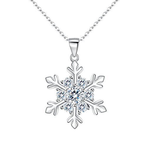 EVER FAITH Women's 925 Sterling Silver CZ Winter Snowflake Adjustable Pendant Necklace - Snowflake Silver Winter Sterling