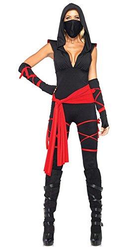 Angcoco Halloween Role Play Cosplay Sexy Ninja Night Hunter Deep V Costume