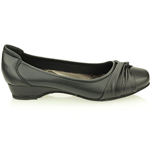 Mujer Señoras Noche Casual Confort Cuña Tacón Bombas Ballerina Zapatos Tamaño (Negro, Marrón) Negro
