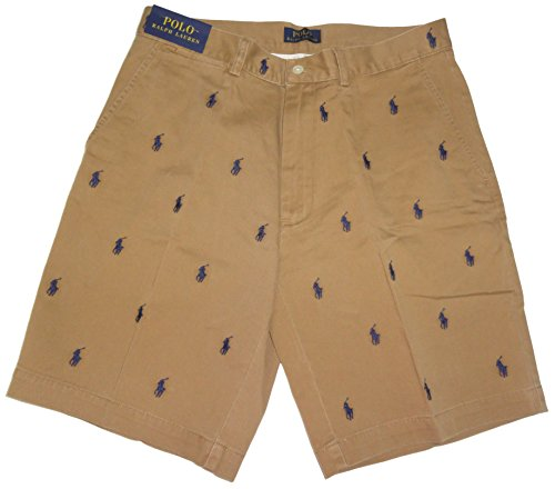 (Ralph Lauren Polo Mens All Over Pony Shorts Tan (29))