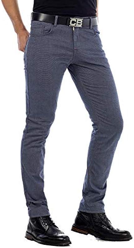 Cipo & Baxx męskie spodnie Denim Straight Fit dżinsy rurkowe nowoczesne dżinsy Slim Fit 5 Pocket Design niebieskie W30 L32: Odzież