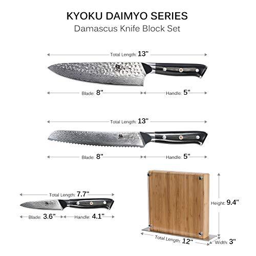 KYOKU Daimyo Series, 3-Piece Knife Block Set - Japanese VG10 Steel Damascus Blade - 8'' Chef Knife & 8'' Bread Knife & 3.5'' Paring Knife & Magnetic Bamboo Block    by KYOKU (Image #1)