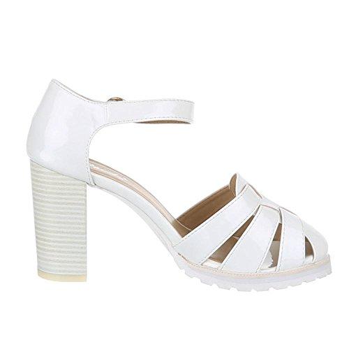 Weiß Damen Heels Pumps Ital High 1905 Schuhe Design 5 Riemchen 05qAwSzq
