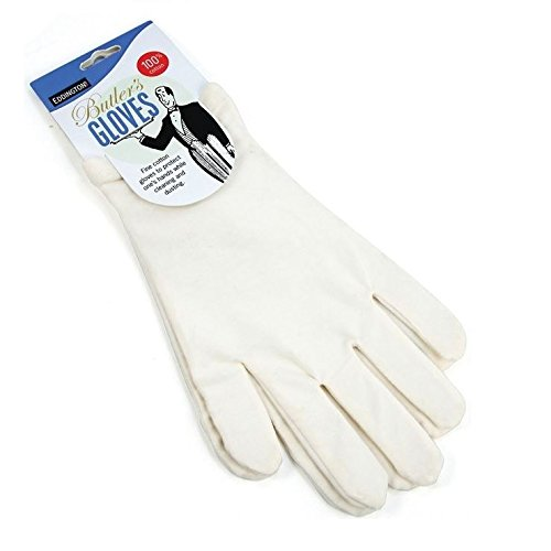 Butlers Gloves - White - 100% Cotton Protect Hands - Ideal For Eczema Or Allergy Sufferers - One Size (Pack of 4) Eddingtons