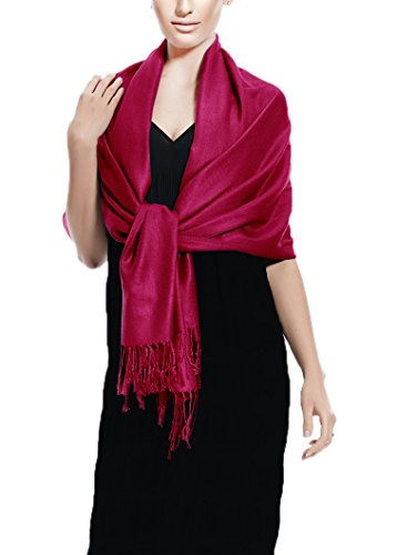 Peach Couture Soft and Silky Bamboo Rayon Pashmina Feel Shawl Scarf Wrap (Magenta)
