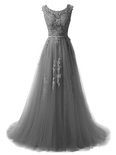 Callmelady A-Line Lace Appliqued V-Back Prom Dresses for Women (Lavender, US20W)