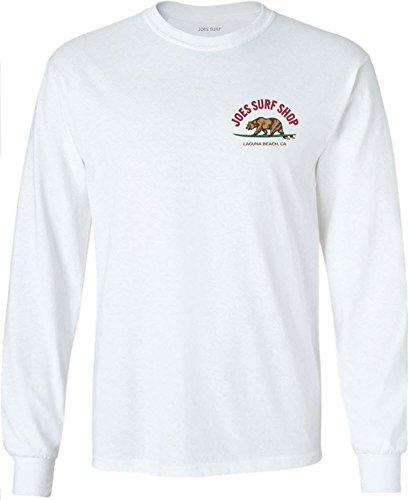 (Joe's Surfing Bear Logo Long Sleeve Shirt-White/c-L)