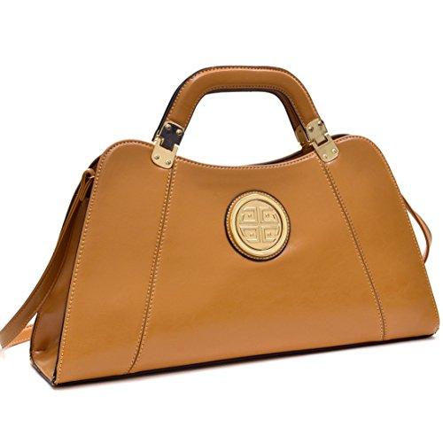 Dasein Flat Bottom Emblem A-Symmetrical Handbag Designer Shoulder Bag w/ Removable Shoulder Strap