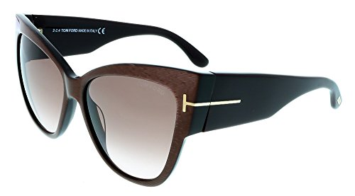 Tom Ford Cateye Sunglasses TF371 Anoushka 50F Iridescent Chalkstripe Brown - Eye Frame Tom Cat Ford Optical