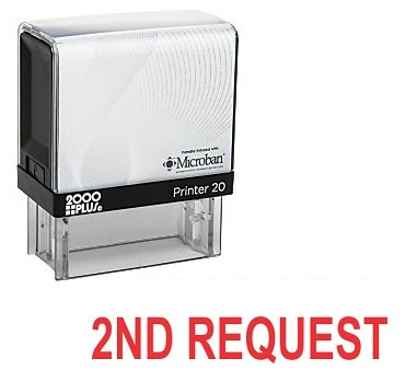 2ND REQUEST Office Self Inking Rubber Stamp - Red Ink (A-5179)