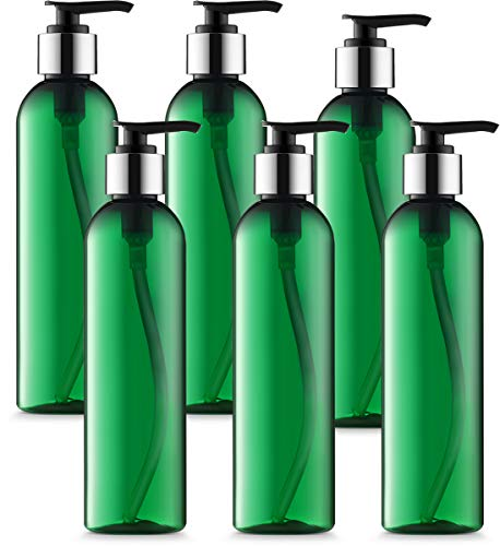 (Empty Lotion Bottles 8 Oz. Bullet Green with Black-Silver Pump, Great for - Creams, Body Wash, Hand Soap, Self-Tanners, Bronzers and Massage Lotion (Pack of 6))