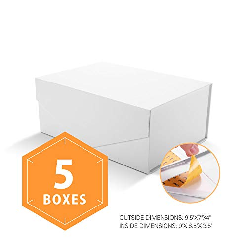 PACKHOME Gift Boxes Rectangular 9.5x7x4 Inches, Bridesmaid Boxes Rectangle Collapsible Boxes with Magnetic Lid for Gift Packaging (Matte White with Embossing, 5 Boxes) -