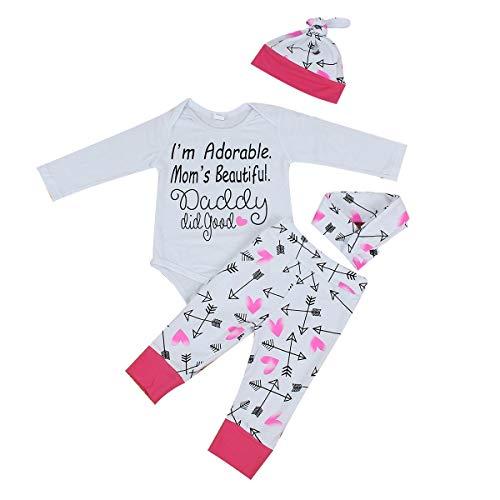 - 4pcs Infant Toddler Letter Print Romper+Heart Pants+Hat+Headband Clothes Set (Size : 100)