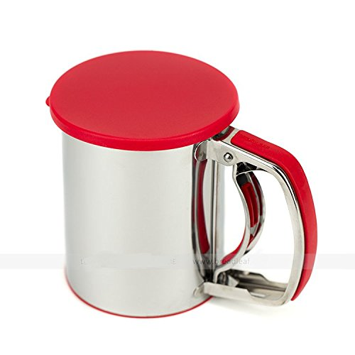 Astra Gourmet Stainless Steel Flour Sifter Sieve with Lid and Bottom Cover, Icing and Sugar Sifter(Red)