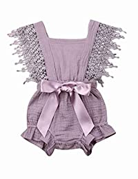 Newborn Baby Girl Romper Toddler Lace Flutter Sleeve Linen Onesie Jumpsuit Bodysuit Tutu Outfit