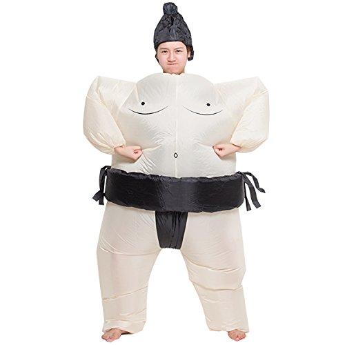 Inflatable Sumo Sumou Wrestler Cosplay Costume Halloween Funny Fancy Dress Blow Up Suit ()