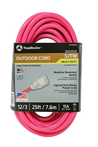 Southwire 02577-0A 25-Foot 12/3 Neon Outdoor Extension Cord, Made in the USA, Water Resistant Vinyl Jacket, Reinforced Blades, Clear Molded Plug With Power Indicated Light, Fluorescent -