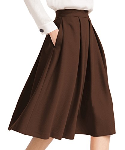 Yige Women's High Waisted A line Skirt Skater Pleated Full Midi Skirt Coffee US4