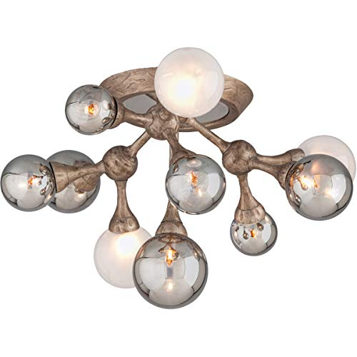 - Semi Flush 11 Light Bulb Fixture with Vienna Bronze Finish Hand-Crafted Iron and Aluminum G9 13