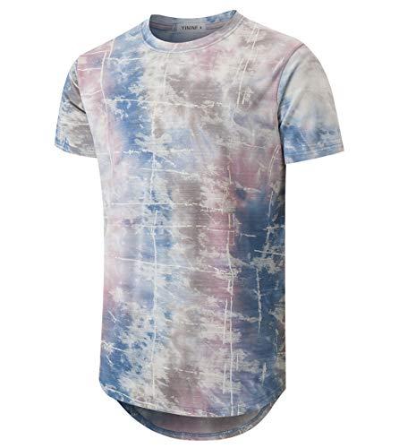 YININF Mens Hipster Hip-Hop Premiun Tees - Stylish Longline Latest Fashion Print T-Shirts (XX-Large, Pink+Blue)