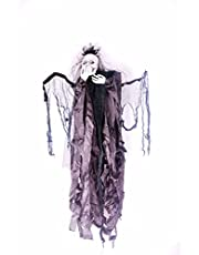 شبح هالوين الطيران مع أجنحة متحركة وعيون مضيئة، كبير، جمجمة، مخيفة