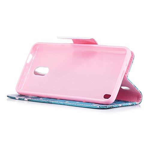 Nokia avec PU fente avec magnétique en en support d'impression 2 portefeuille pour protection carte cas Flip fermeture peint Plum conception aérosol blossom de Hozor cuir étui dqxHORwH