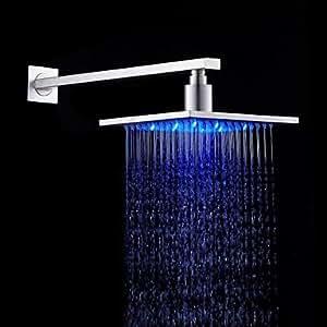 LXShowerTM 20,32cm acero inoxidable cabezal de ducha con luz LED que cambia de color