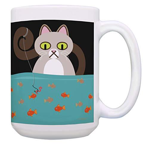 Cat Themed Gifts Cat and Fish Mug Cat Lover Mug Cat Owner Gifts 15-oz Coffee Mug Tea Cup Multi