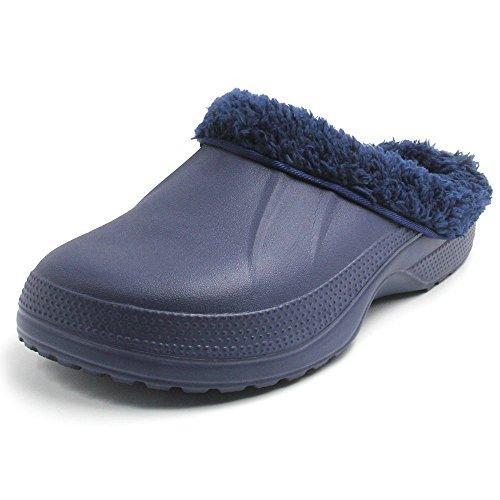 Slip Clogs Fleece (Amoji Lined Slipper Lined Clog House Home Shoes Room Indoor Winter Warm Fur Lined Fleece Clogs Fuzzy Fleece Slip On Comfort Women Men Ladies Girls Boy(7.5-8 US Women/5.5-6.5 US Men, Navy2))