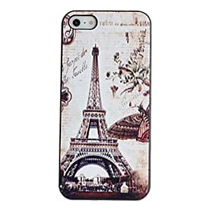Retro Flower around Tower Pattern PC Hard Case with Black Frame for iPhone 5/5S