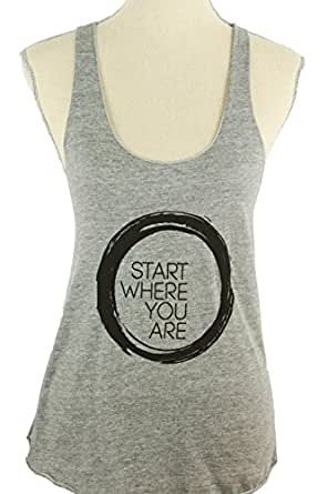 """Inner Fire """"Start Where You Are"""" Yoga Racerback Tank Top, Small Grey"""