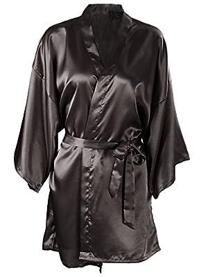 Women's Kimono Satin Wedding Robe Short Dressing Gown Sleepwear
