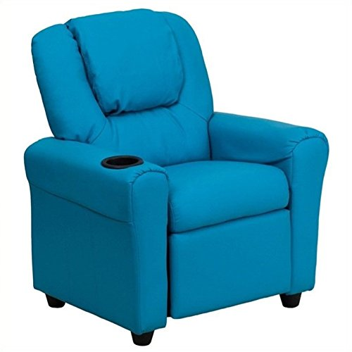 BOWERY HILL Kids Faux Leather Recliner in Turquoise