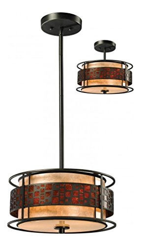 (Z14-50P-C Java Bronze Milan 3 Light Full Sized Pendant with White and Amber Mica Shade)