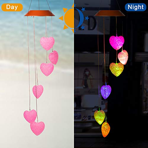 Cxff Heart Shaped Led Solar Wind Chimes Outdoor Waterproof Solar