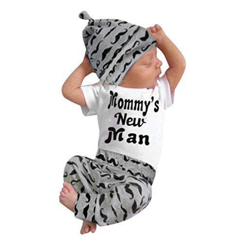 FEITONG Newborn Infant Baby Boy's Print Romper Tops+Long Pants +Hat ... (3-6 Months, Black #3)]()