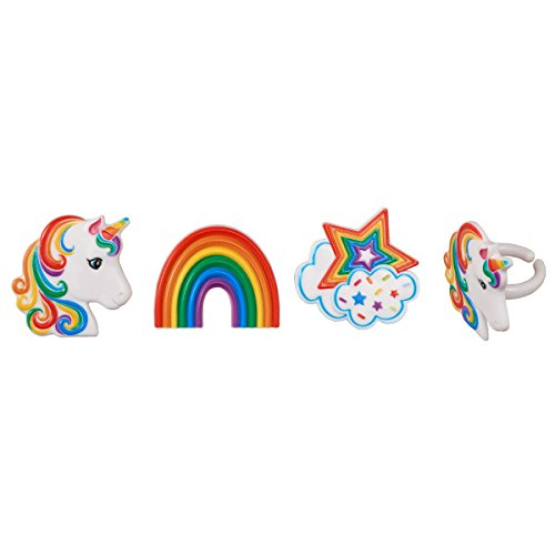 Unicorns and Rainbows Cupcake Rings - 24 pc (Ring With Images)