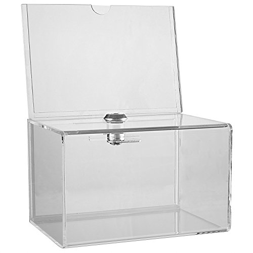 Clear Acrylic Donation Collection Box with Lock - Small - with 4 x 6 Display Area ()