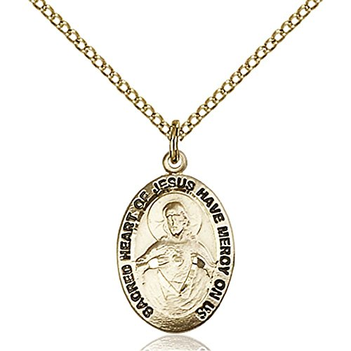 Gold Filled Scapular Medal 3/4 x 3/8 inches with Gold-Filled Lite Curb Chain