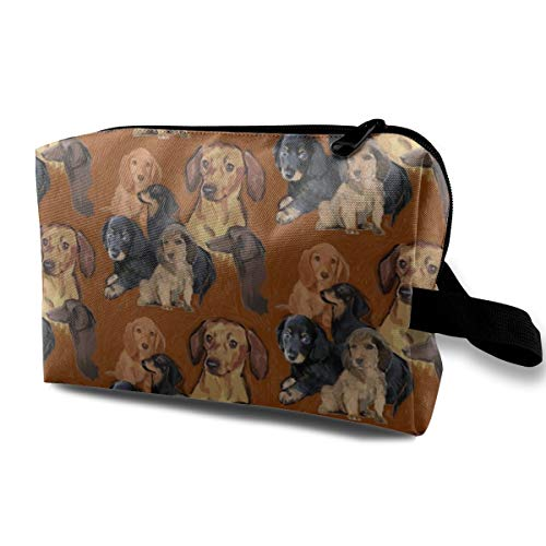 Dachshund Mural_506 Travel Makeup Pouch Adjustable Dividers Women Blue Flowers