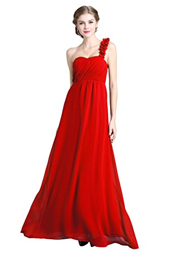 Dress Party Denovelty Women's Red Maxi Gown Floral Shoulder Long Chiffon Evening One wvFwTq0