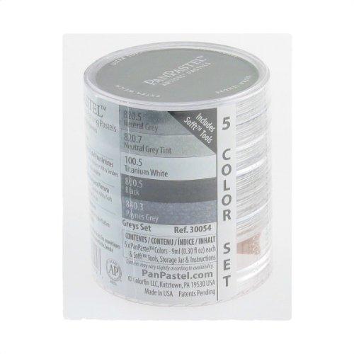 PanPastel 9-Milliliter Ultra Soft Artist Pastel Set, Greys, 5-Pack