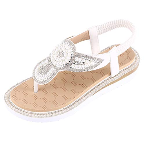 (Summer Women Ladies Classics Flat with Back Strap Bohemia String Bead Sandals Beach Casual Shoes White)